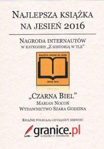 """Czarna biel - Najlepszą Książką na Jesień 2016 w kategorii Z historią w tle""""."""